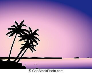Tropical palm trees and sea - Illustration of silhouetted...