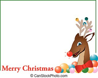 Merry Christmas reindeer card - Illustration of decorative...