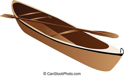 Wooden canoe - Three dimensional illustration of wooden...