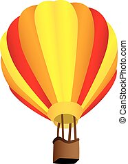 Stripy hot air balloon - Three dimensional illustration of...