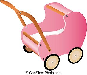 Pink wooden toy pram - Illustration of pink wooden toy pram...