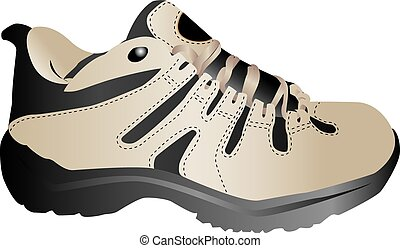 Running shoe - Details of a modern running shoe on a white...