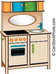 Toy kitchen - Three dimensional illustration of toy kitchen,...