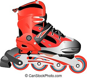 Red hot plastic and fabric sport rollerblade, vector - A...