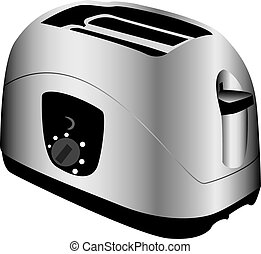Toaster - Three dimensional illustration of modern silver...