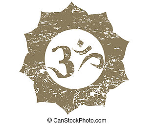 om stamp - Spiritual Om On Lotus Design Grunge Stamp