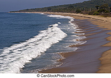 Long, curved beach on the Pacific Ocean in Nayarit, Mexico