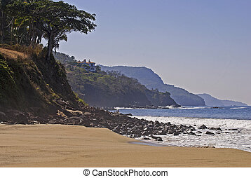 Pacific Ocean coast and beach in Riviera Nayarit, Mexico
