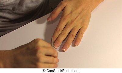Personal Care of Nail, file nails, closeup
