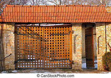 wooden gate in vintage style