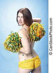 Woman holding pompoms - Sexy young topless woman holding...