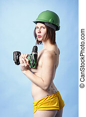 Woman with power drill - Sexy woman with a power drill.