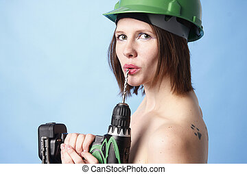 Woman with power drill - Sexy woman with a power drill