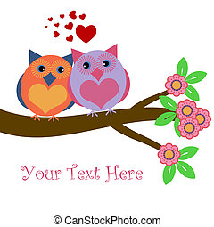 Owls in Love Sitting on Tree Branch with Hearts and Flowers...