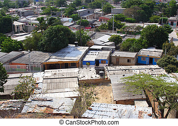 Roof tops from a poor area in Santa marta Colombia
