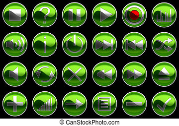 Round green Control panel buttons