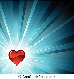heart background - Red glossy heart on a blue star burst...