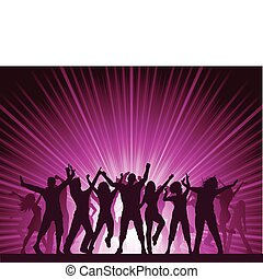 Party background - Silhouettes of lots of people dancing on...