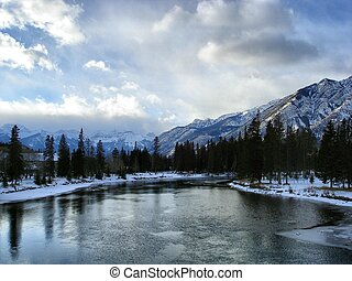 Winter river waters - Banff, Alberta from the bridge.