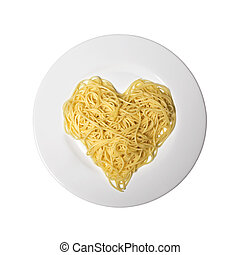 Italian Food Spaghetti Love Isolated on White