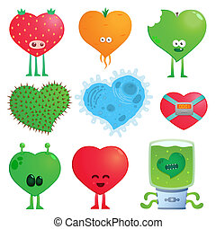 crazy hearts - Collection of cartoon colored crazy funny...