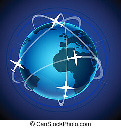 world tour with globe and plane - illustration of world tour...