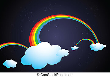 rainbow in clouds - illustration of rainbow in clouds on...