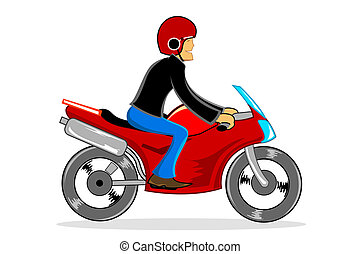 man driving bike - illustration of man driving bike on white...