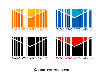 barcode letters - illustration of barcode letters on white...
