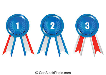 ribbon prizes - illustration of ribbon prizes on white...