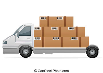 cargo with packets - illustration of cargo with packets on...