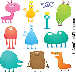 Funny monsters - Collection of cartoon colored crazy funny...