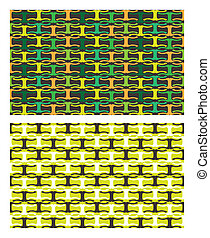 Abstract patterns - Two yellow and green patterns in...