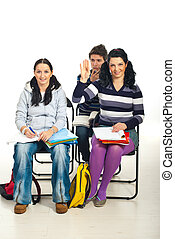 Student woman know answer - Student woman sitting on chair...