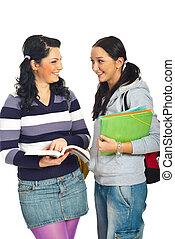 estudiantes, discusión, niñas, dos