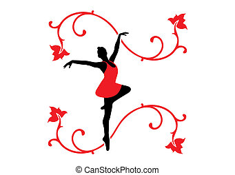 Ballet Dancer - Vector Illustration of a ballet dancer and...