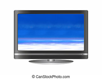 Flat Screen Television on white background.