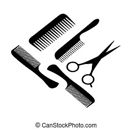 A hair scissors and four combs - Vector illustration of a...