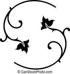 Black Floral Ornaments. - Vector Illustration of Black...
