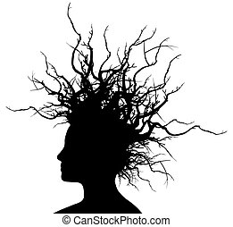 Woman with branches hair - Vector Illustration of the head...