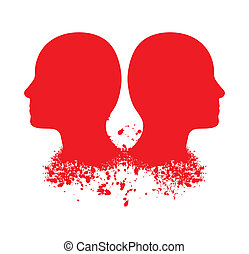 Red head silhouettes - Vector Illustration of two red head...
