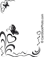 butterfly, hearts and floral ornament, black on the white...