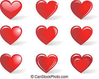 Red hearts, collection - The collection of red hearts...