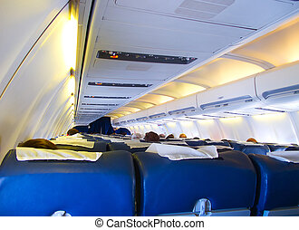 Airplane Cabin - Passenger cabin of the modern aircraft