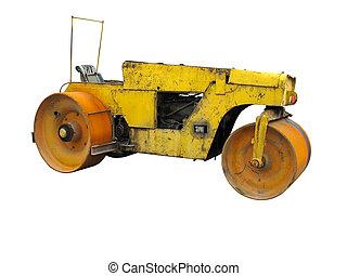 Old rusty yellow road roller isolated over white