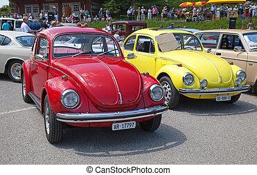 """""""Oldtimer"""" car - SCHWAEGALP - JUNE 27: VW Beetle car on the..."""