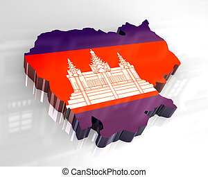 3d flag map of cambodia
