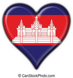 Cambodja, knoop, vlag, hart, vorm