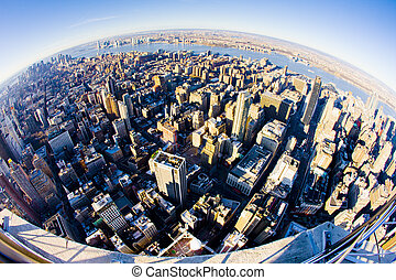 view of Manhattan from The Empire State Building, New York...