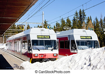 electric car at Strbske pleso station, Vysoke Tatry High...